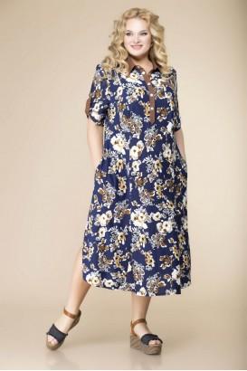 Платье Romanovich style 1-1657 Синий+цветы